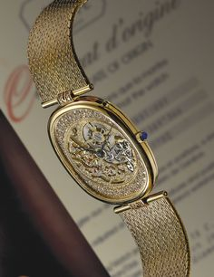 Patek Philippe A RARE YELLOW GOLD OVAL SKELETONIZED WRISTWATCH 1984.