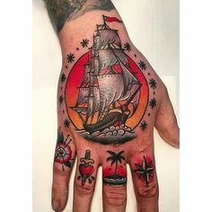 Nautical hand and Knuckles tattoo @danielcrookedmoon at Crooked Moon in…