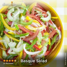 """Basque Salad   """"This dressing is zesty and fresh, and all the veggies complement each other well. It's my first attempt at a salad with more than just tomato and lettuce, and I am so glad I tried it."""" — ruby_cube"""