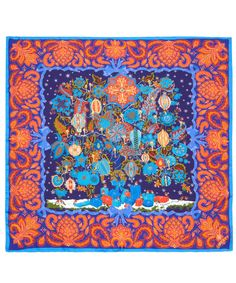 Blue Christmas Tree of Life Print Silk Scarf, Liberty London Scarves. Based on a Persian design, originally designed as a Liberty scarf in 1976. 90 x 90cm 100% silk.    From the Liberty London Scarves collection online at Liberty.co.uk