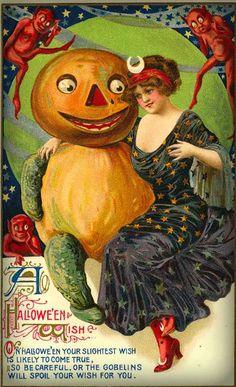 Victorian Era Halloween Greeting Card. Retro Halloween, Spooky Halloween, Halloween Fotos, Victorian Halloween, Vintage Halloween Images, Halloween Wishes, Halloween Greetings, Vintage Holiday, Holidays Halloween