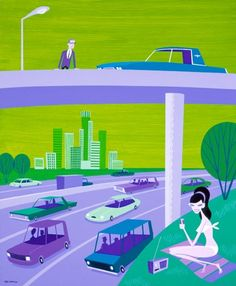 Picnic by the Freeway by Shag ~ Mid Century Modern Art