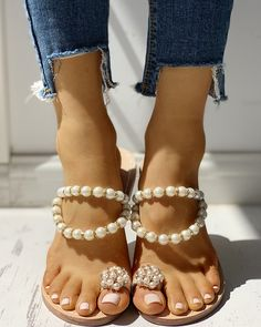 cheap for discount 049f1 48138 Beaded Design Toe Ring Casual Sandals
