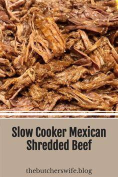 Easy Mexican Shredded Beef in the slow cooker! Perfect for burritos, tacos, enchiladas, tacos, nachos and more! Shredded Beef Recipes, Mexican Shredded Beef, Shredded Beef Tacos Crockpot, Shredded Beef Enchiladas, Slow Cooker Recipes, Crockpot Recipes, Mexican Food Recipes, Easy Mexican Dishes, Mexican Meals