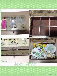 Tea Time    Presente super fofo e criativo para alguém especial!   Kit caixa de chá:  Caixa de MDF para chá, acompanha divisórias. Caixa pintada com técnica de envelhecimento, pés e puxador de madeira, aplicação de papel de scrapbook, detalhe de fita verde de poá marrom, fechadura envelhecida, parte de dentro revestida de tecido marrom de poá branco.  Xícara e pires de porcelana para chá, 4 sachês de chá, cookies, guardanapo de linho, geleia, torradas, mel, requeijão, espátula e colher…