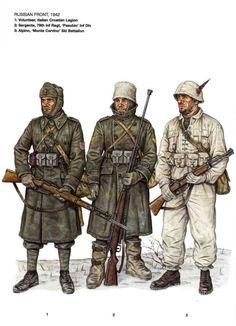 """Regio Esercito - Fronte russo, 1942 - 1 Volontario Legione croata italiana - 2 Sergente, 79o Rgmt fanteria, Divisione """"Pasubio"""" - 3 Alpino, battaglione sciatori """"Monte Cervino"""""""