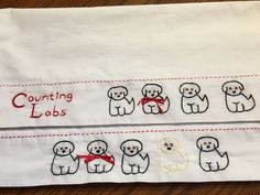 Counting labrador Retrievers Hand Embroidered Pillowcase set Very Cute  #Cottage