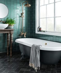 10 Beautiful Rooms - speculo forest green tile by topps - White Bathroom, Modern Bathroom, Small Bathroom, Bathroom Ideas, Green Tile Bathrooms, Dark Bathrooms, Minimalist Bathroom, Budget Bathroom, Mad About The House