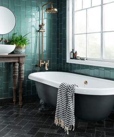 10 Beautiful Rooms - speculo forest green tile by topps - Bathroom Spa, White Bathroom, Small Bathroom, Bathroom Ideas, Green Tile Bathrooms, Bathroom Tiling, Dark Bathrooms, Bathroom Wallpaper, Budget Bathroom