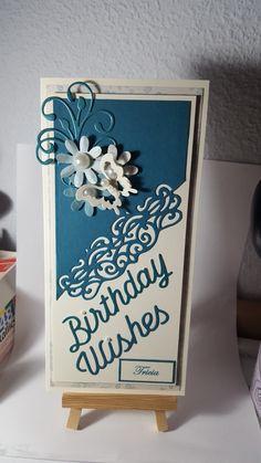 Teal and cream floral edgeable  birthday card