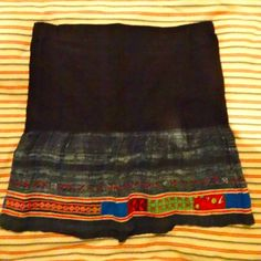 Vietnamese skirt showing detail of batik and embroidered and appliquéd panels (skirt restyled and rescued from original garment) 10.1.14