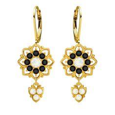 Lucia Costin Silver White Black Dangle Earrings