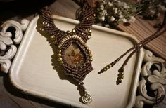 Röötz Goddess Ammonite fossil macramé necklace, micromacrame, boho jewelry, macrame necklace, boho,ethnic,tribal goddess ,handmade necklace