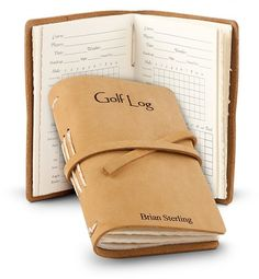 Leather Bound Golf Log: Personalized Keepsake Gifts - A carefully handcrafted leather bound golf log made in America.