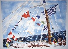 "Malcolm Morley ""Untitled #1 ('Flags')"" 1985. Lithograph.  Morley first gained attention in the mid-'60's for his photorealist paintings.  Since then, his work has taken a far more expressionistic and painterly bent, and his creations range from eccentric mixed media works to watercolors and oil paintings depicting seascapes and ships.  His multicolored canvases are infused with a shimmering energy, making the surfaces appear alive."