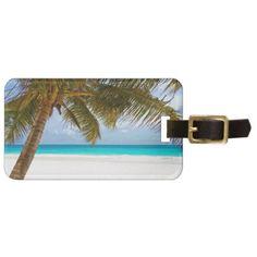 Palm Paradise Blue Sky Sunshine Luggage Tag