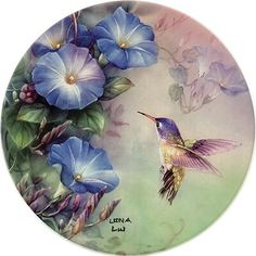 Ophelia & Co. China Painting, Ceramic Painting, Crown Painting, Hummingbird Art, Decoupage Vintage, Creations, Hand Painted, Antiques, Drawings