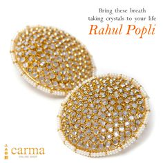 Gold plated sterling silver earrings with crystals. #earrings #carmaonlineshop #amethyst #rahulpopli Shop at carmaonlineshop.com