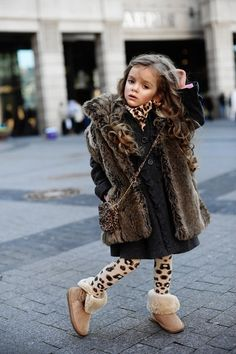 kids fashion, girl fashion, coat, black dress, fur, boots, leopard, kids