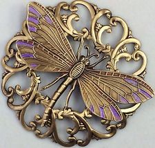 "2 1/4"" INCH~Stamped FILAGREE Brass~""LAVENDER LEAF DRAGONFLY""Picture Button"