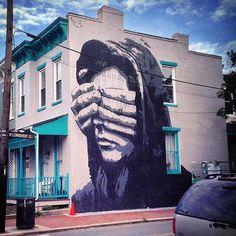"""""""Great new piece my @nilsrva in Richmond  #nils #mural #richmond #face  #blackappleart #urbanart #sprayart #streetart #art"""" Photo taken by @blackappleart on Instagram."""