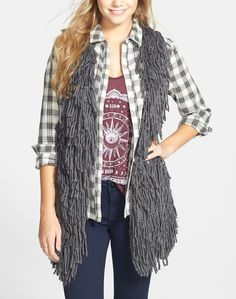 Adding this shaggy chic sweater vest to the fall wardrobe.