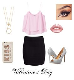 """""""Valentine's Date"""" by emily-maya ❤ liked on Polyvore featuring MANGO, H&M, Badgley Mischka, Lime Crime and Kate Spade"""