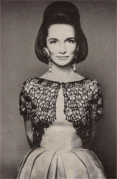 1961 Harpers Bazaar,  Lee Radziwell wears a jeweled bolero by Givenchy.