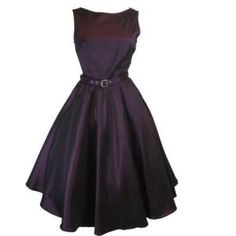 Chicstar 60's Vintage Style Purple Satin Flare Swing Party Dress - 16