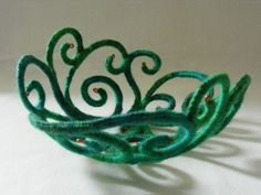 Test of concept/  method -- Spiral green vessel -- by La Belle Helene / Elaine Carstairs -- Crocheted yarn over bent wire