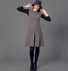 Dress or jumper sewing pattern from McCall's features a dropped waist and pleated skirt. M7241, Misses' Dresses