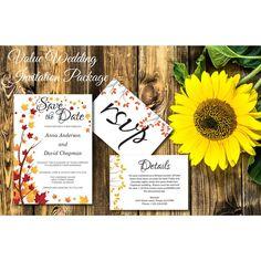 Autumn Leaves Value Wedding Invitation - E43B