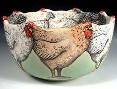 Hand Painted Pottery by Nan Hamilton in Boston MA Ceramic Chicken, Chicken Art, Ceramic Clay, Ceramic Plates, Hand Painted Pottery, Pottery Painting, Hand Painted Ceramics, Ceramic Painting, Pottery Bowls
