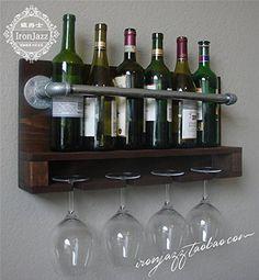 American Country Bar Retro Tube Wand Weinregal Holz Weinregal Wein Racks Stielglas Racks Wein Rack Whisky Schrank, weiß