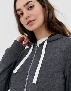 quality design af78a 78021 DESIGN Tall zip through hoodie in charcoal