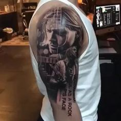 'Wanting to be someone else is a waste of the person you are.' - #KurtCobain  Incredible piece by @robrichtattoo #SullenTV #sullenclothing #TogetherWeRise #sullen #tattooartist #tattoo #ink #art #artdriven #tattoooftheday #inked #bodyart