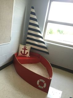 My nautical themed classroom complete with a boat for the reading center! My dad made it! He's awesome:))