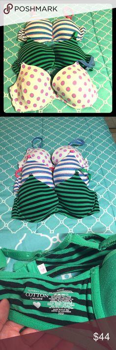 Women's Victoria's Secret bras Three cotton bra bundle! Racer back with removable clip bras in 38D. Used bras but still great! Victoria's Secret Intimates & Sleepwear Bras