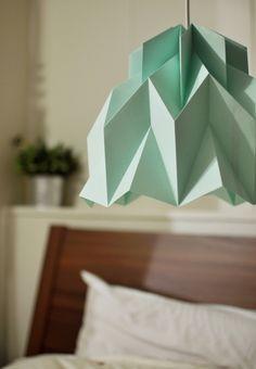 Ruffle: Origami Paper Lamp Shade / Lantern - Mint