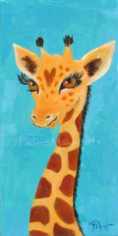 "Padgett Mason orginal acrylic painting giraffe ""Tip Top"" by padgettpaints on Etsy"