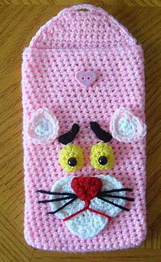 """Pink Panther Nook Kindle Tablet Sleeve by Knotty Hooker Designs - This pattern is available for $2.50 USD. Finished size is appx. 5 1/2"""" wide by 8 1/2' long. It is designed to fit Nook, Kindle & 7"""" Tablets."""