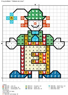alfabeto dei clown E Alphabet And Numbers, Alphabet Letters, Number Patterns, Cross Stitch Alphabet, Letter I, Clowns, Tree Branches, Art Pieces, Abcs