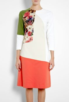 Rose Floral Patchwork Shift Dress by Preen