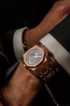 "confessions-of-a-snob: "" Audemars Piguet Royal Oak Chronograph x Northskull & Anil Arjandas bracelets with Hermes belt "" Audemars Piguet Rose Gold, Audemars Piguet Watches, Men's Watches, Cool Watches, Stylish Watches, Seiko, Rolex, Mode Man, Swiss Army Watches"