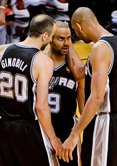 "San Antonio Spurs; our top 3... Tim (""Slam"") Duncan #21; Manu Ginobili #20; & Tony Parker #9 <3 <3 <3"