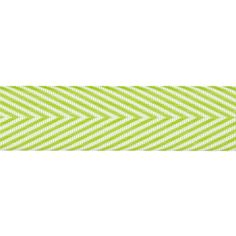 """3/4"""" Twill Tape Chevron Stripes Celery from @fabricdotcom  This polyester twill tape will wash well and hold it's color beautifully. This twill tape is thin and tightly woven, perfect for reinforcing seams, binding edges, casings, and making sturdy ties for closures. Embellish garments, home decorating and craft projects with this versatile trim."""