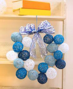 Receitas de Trico e Croche: Guirlanda com Bolas de Natal Endurecida com cola