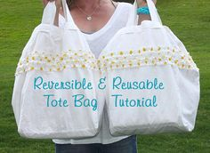 Cute Reversible Reusable Tote Bag Tutorial by Sawdust Girl - Pretty Handy Girl
