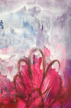"""""""Heartbeats Series,"""" pink flower painting by artist Carmen Larsen available at Saatchi Art 