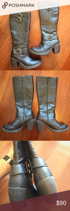 """Born Block Heeled Boots In great used condition. Mid-calf, block heeled boots by Born. Brown leather with buckles. Inner zipper. Size 6.5. Heel height: 3"""". Born Shoes Heeled Boots"""